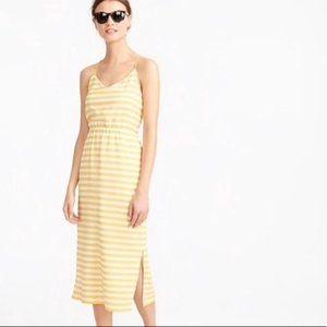 J. Crew Silk Carrie Yellow Striped Midi Dress